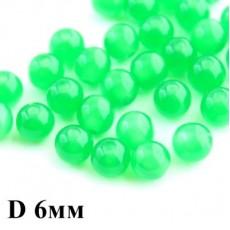Бусины ДеЛюкс с переливом D=6 Зеленые 1шт #5653