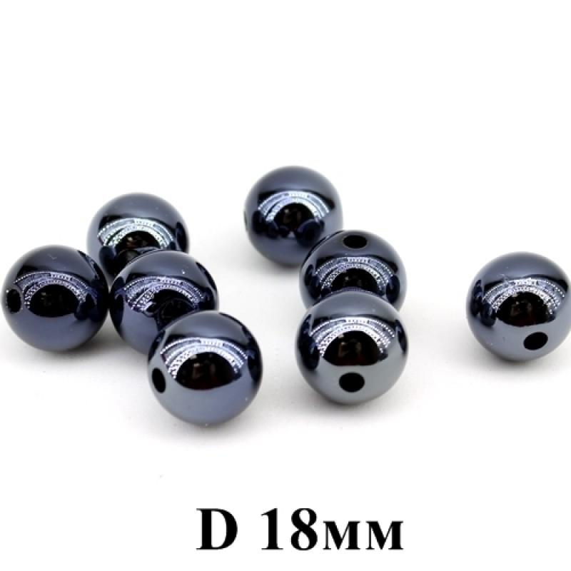 Бусины глянцевые черные D=18мм, 1шт #3666