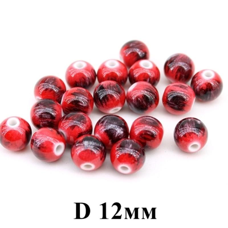 Бусины с узором красные D=12мм, 1шт #3692