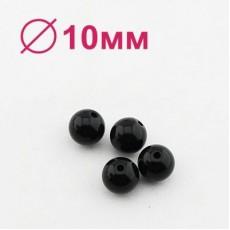 Бусины D=10, 1 гр (2шт) Черные #1677