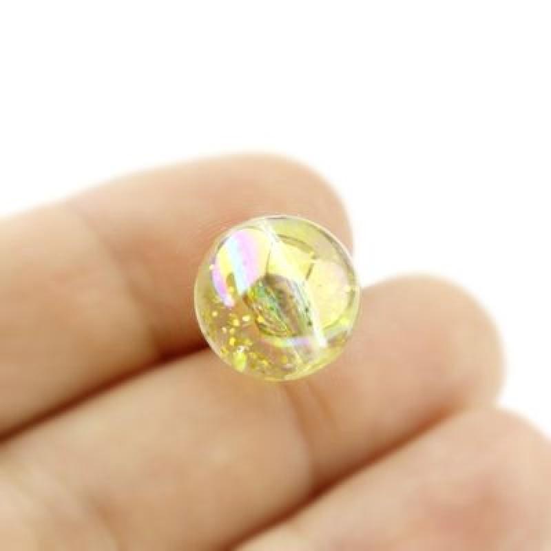 Бусины с блёстками D=14, 1шт Золотистые #4347