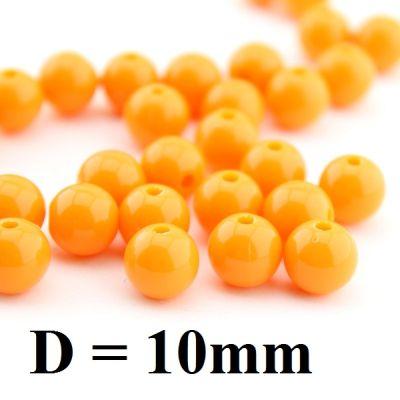 Бусины D=10, 1гр (2шт) Оранжевые #4950