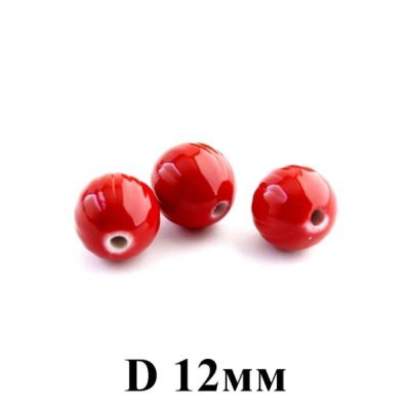 Бусины D=12, 1шт Красные #5683