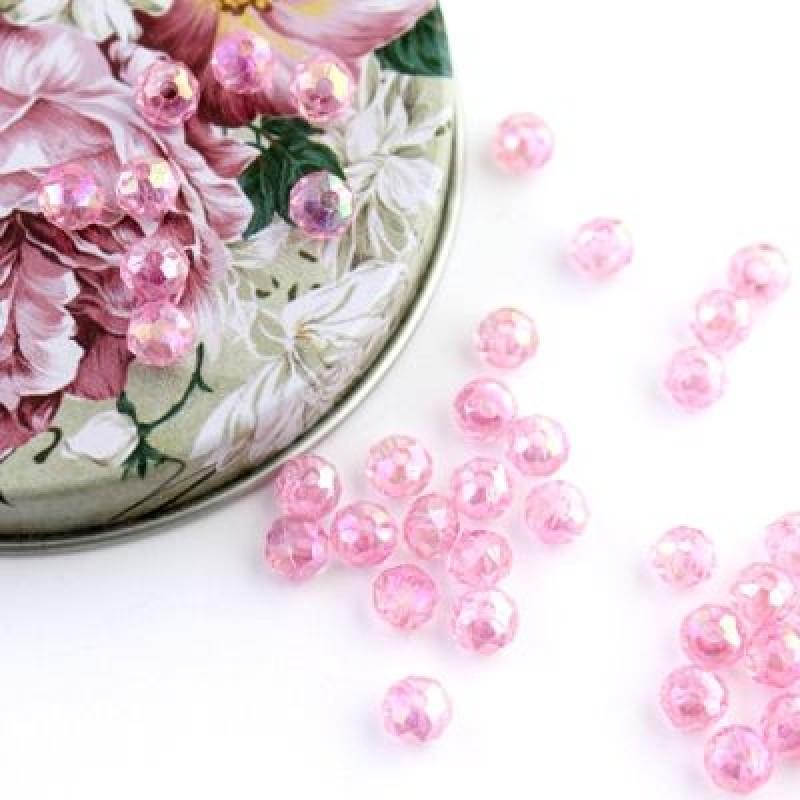 Бусины с огранкой 6х5, 1 гр (12 шт) Розовые #5740