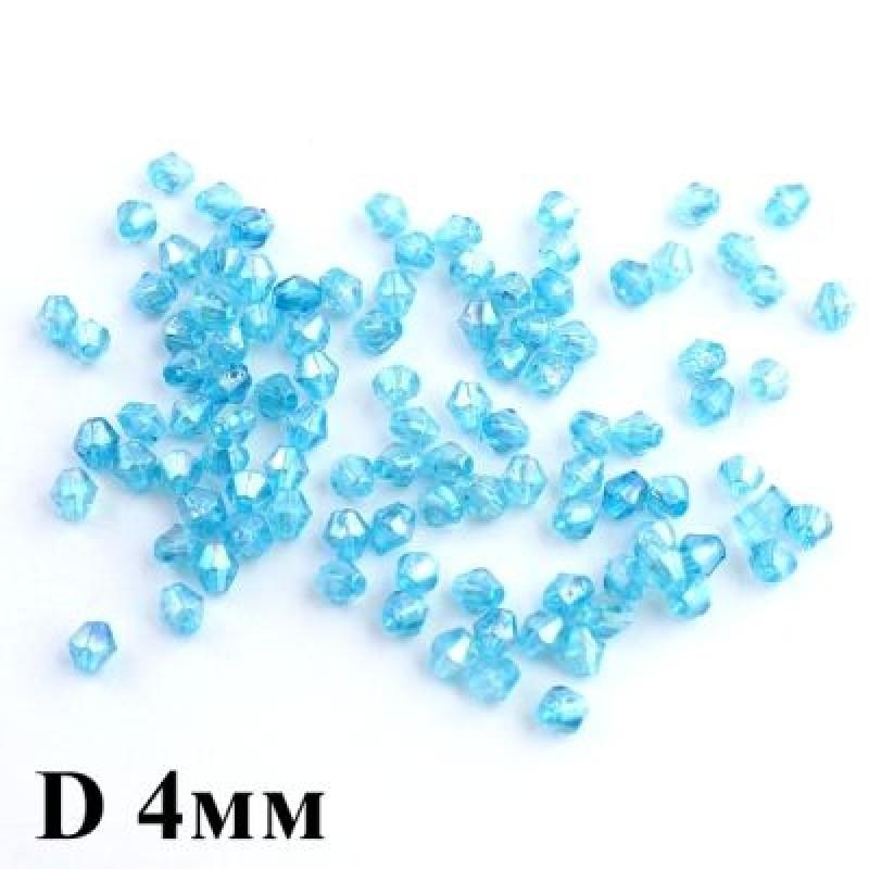 Бусины Ромб D=4 голубые 1гр (31шт) #5757