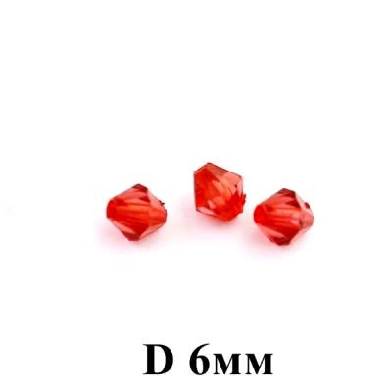 Бусины Ромб D=6 ,1гр (12шт) Красные #5777