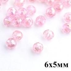 Бусины с огранкой 6х5, 1 гр (12 шт) Св-розовые #5741