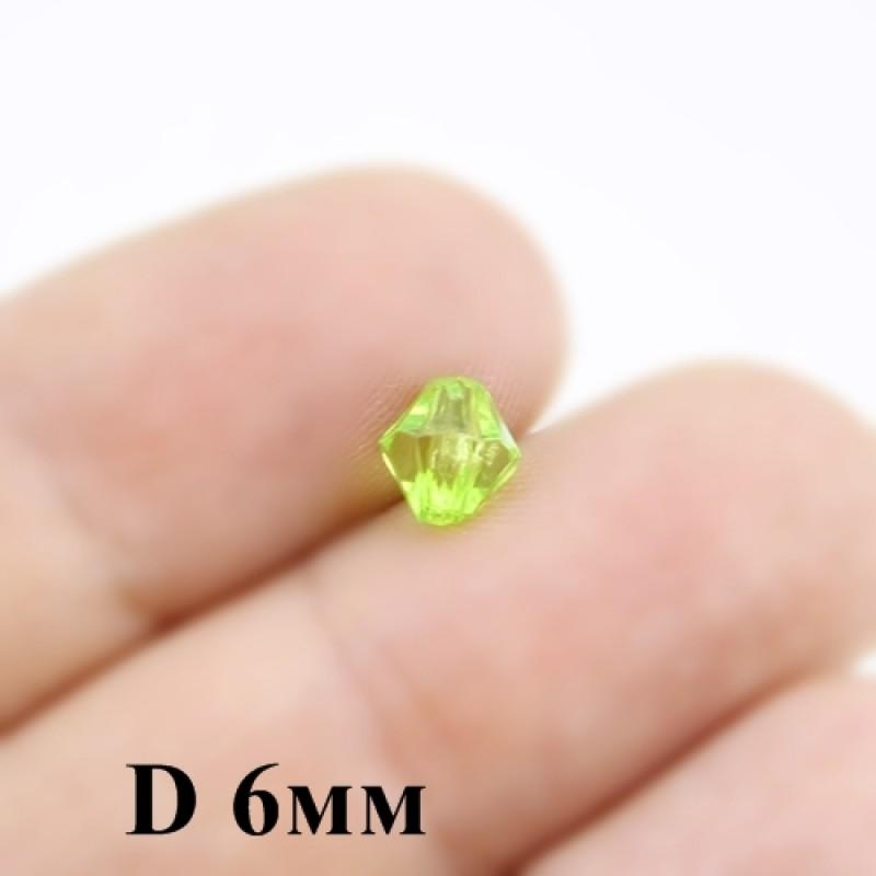 Бусины Ромб D=6 ,1гр (12шт) Салатовые #4509
