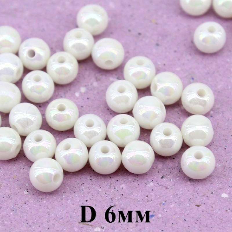 Бусины D=6, 1 гр (9шт) Белые с блеском #4147