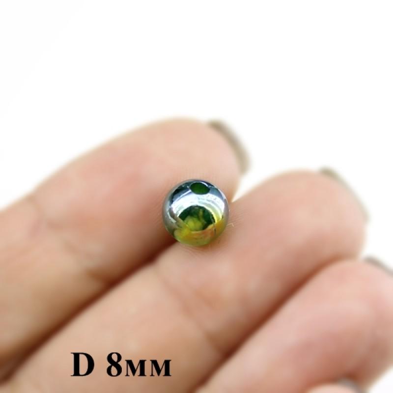 Бусины Гладкие D=8, 1 гр (4шт) Зелено-синие #3548