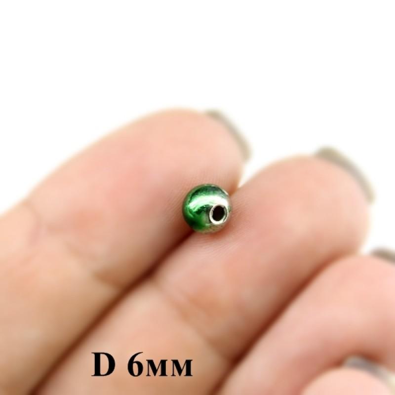 Бусины D=6, 1гр (9шт) Зелено-серебрянные #5921