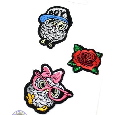 Термоапликация 2 совы и роза #11368