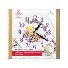 Набор в технике декупаж Часы Мишка с подарками #10189