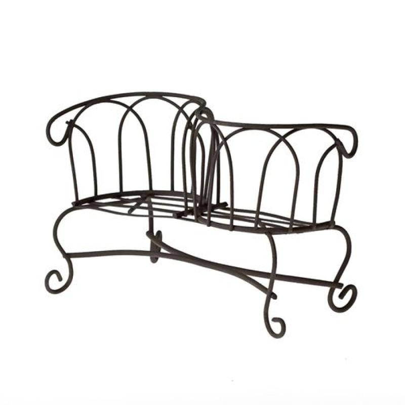 Металлическая мини скамейка, коричневая 11X6 #10128