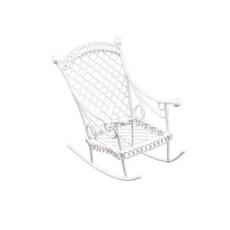 Металлическое мини кресло-качалка белое #10151