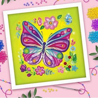 Вышивка бисером Бабочка, 25х25 см #10397