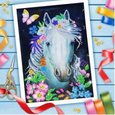 Вышивка бисером Белая лошадь, 25х25 см #10398