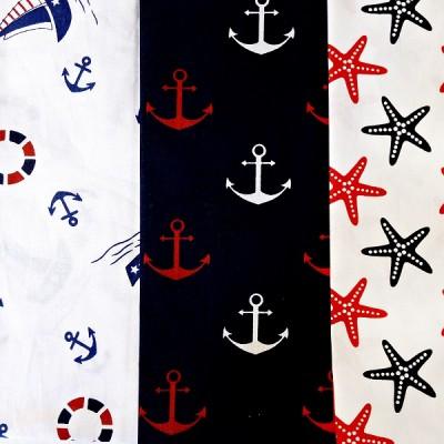 Набор тканей 30х40 3шт (Морская тема) #10499