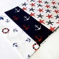 Набор тканей 50х50 3шт (Морская тема) #10503