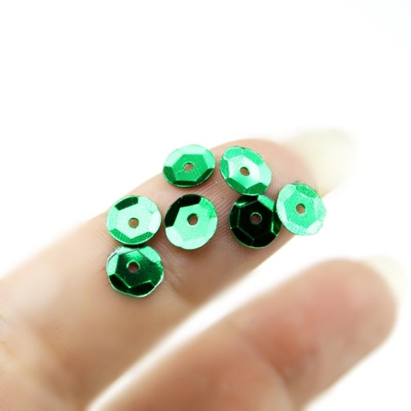 Пайетки Круглые зелённые 8мм, 10гр #11313