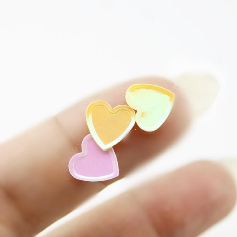 Пайетки сердечки 10мм МИКС, 10гр #11325