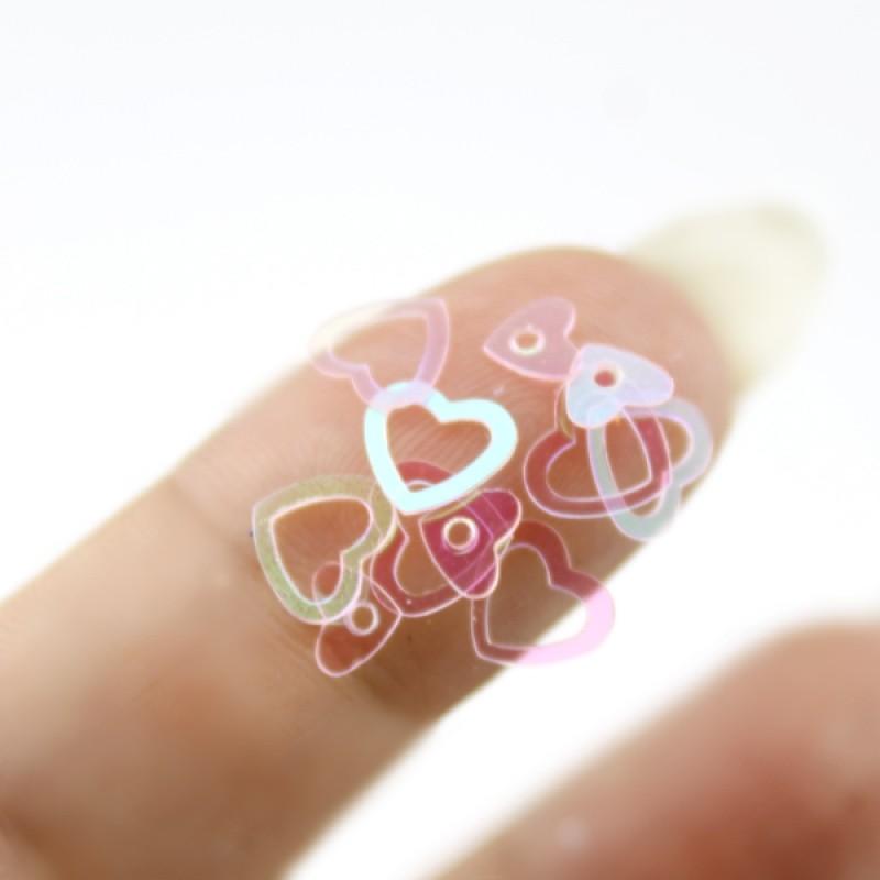 Пайетки сердечки розовые 6-8мм, 10гр #11329