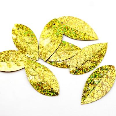 Пайетки Листья 45х22 золотые, 10гр #11331