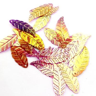 Пайетки Листья 30х12 красные, 10гр #11332
