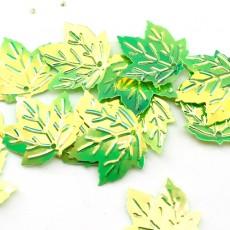 Пайетки Клиновый лист 22х20  зелённые, 10гр #11337