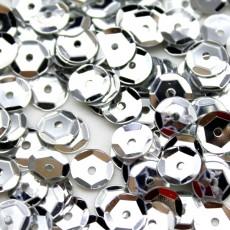 Пайетки Круглые серебрянные 8мм, 10гр #11314