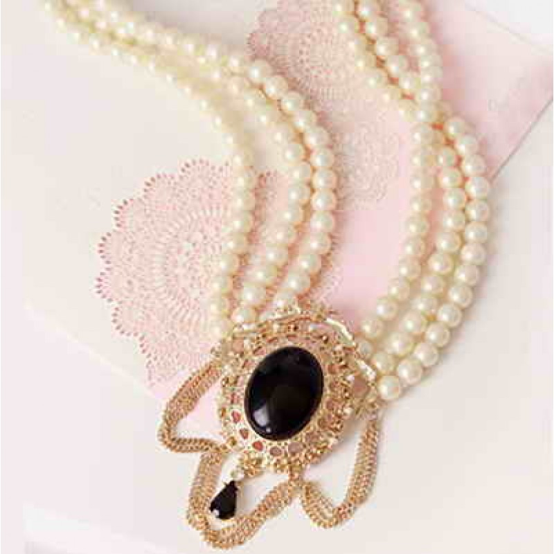Дизайнерское ожерелье с овальным камнем #5748