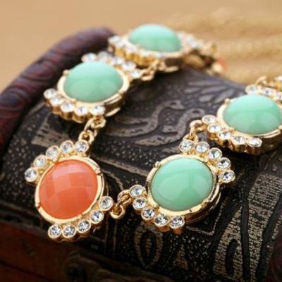 Ожерелье с бирюзовыми камнями  #3403