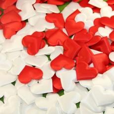 Сердечки тканевые 3,5см МИКС (краные и белые) #5879