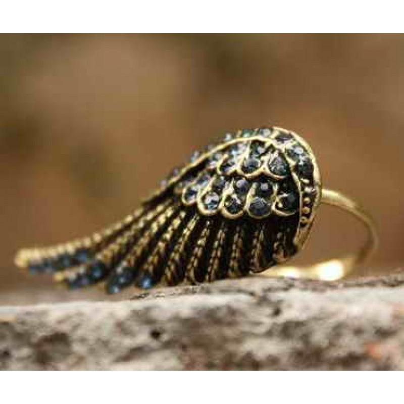 Кольцо Крыло с голубыми стразами #1426