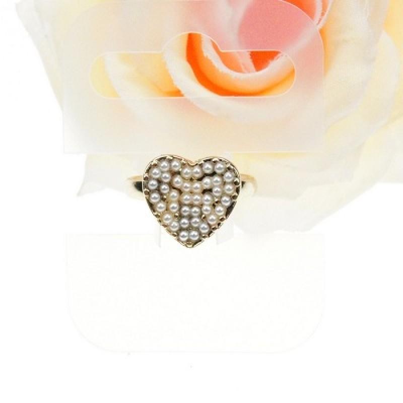 Кольцо Сердечко с жемчужинами #7529