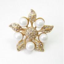 Кольцо Цветок с жемчугом  #5918