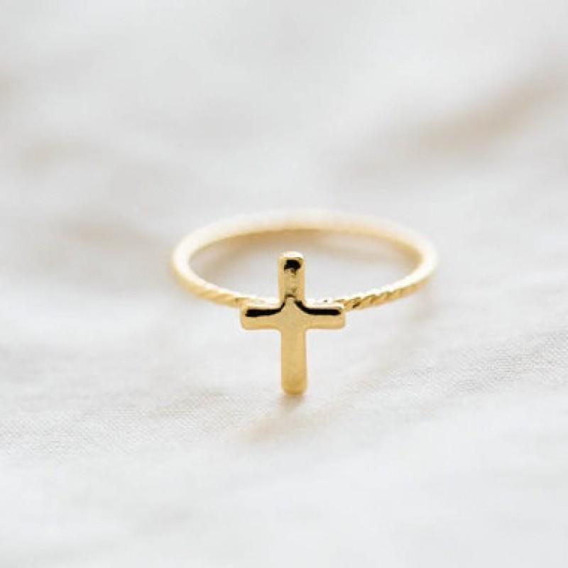 Витое Кольцо Крест #4114