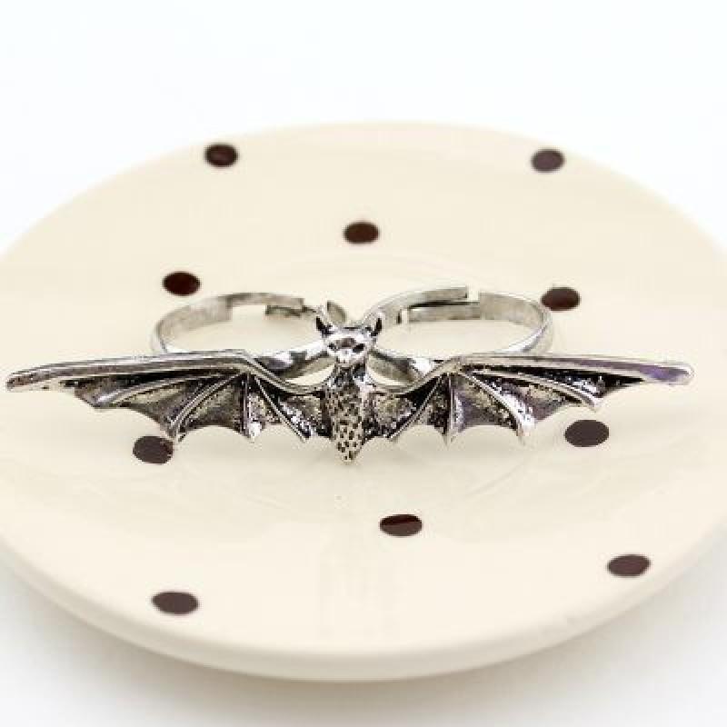 Кольцо двойное Летучая мышь #1094