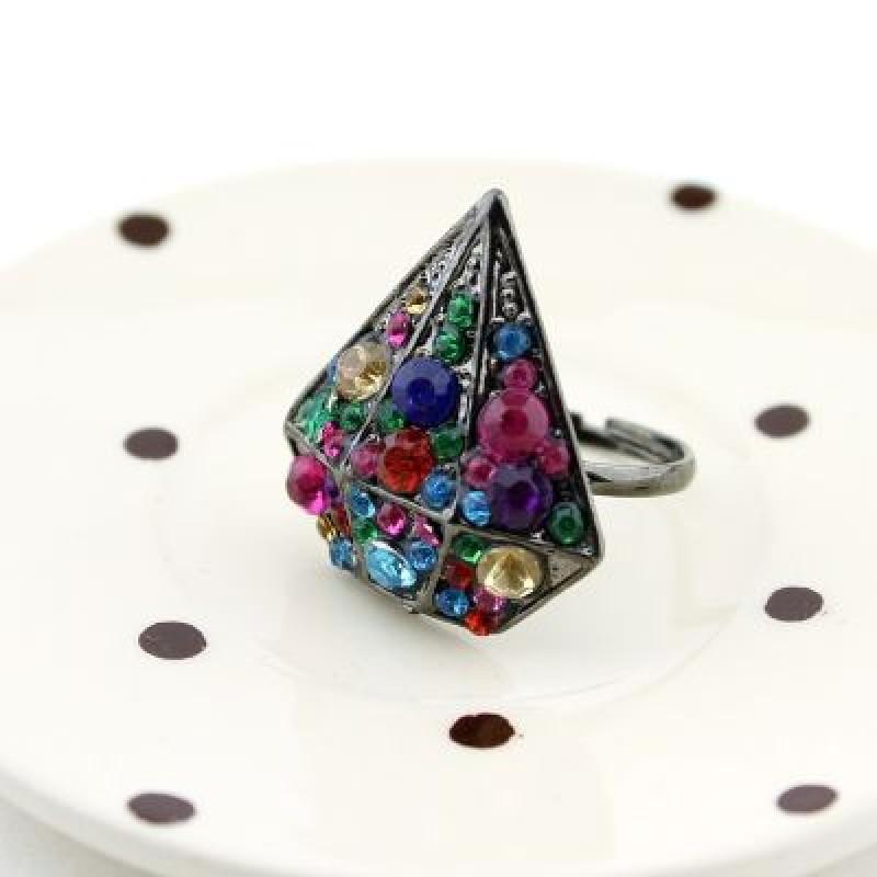 Кольцо Разноцветный кристалл #2106