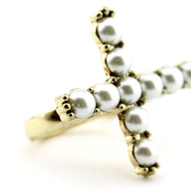 Кольцо Жемчужный Крест размер 17-18 #3184