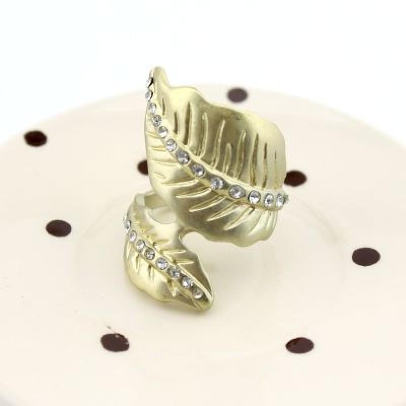 Кольцо Листья со стразами #5065 Размер 18