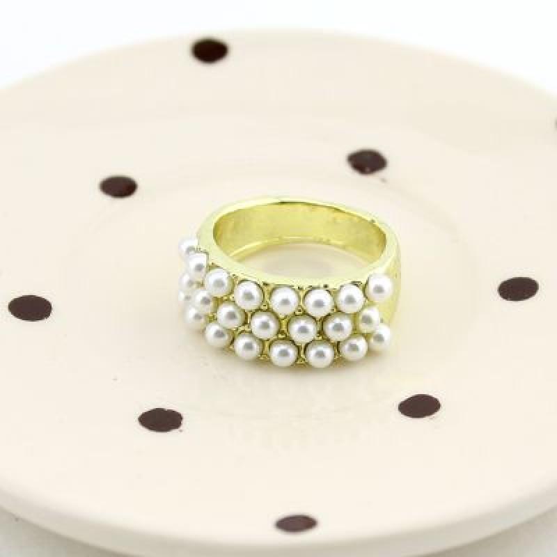 Широкое Кольцо с жемчугом #7930
