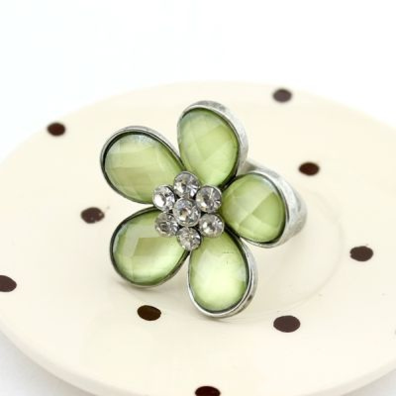 Кольцо Цветок со стразами #4812
