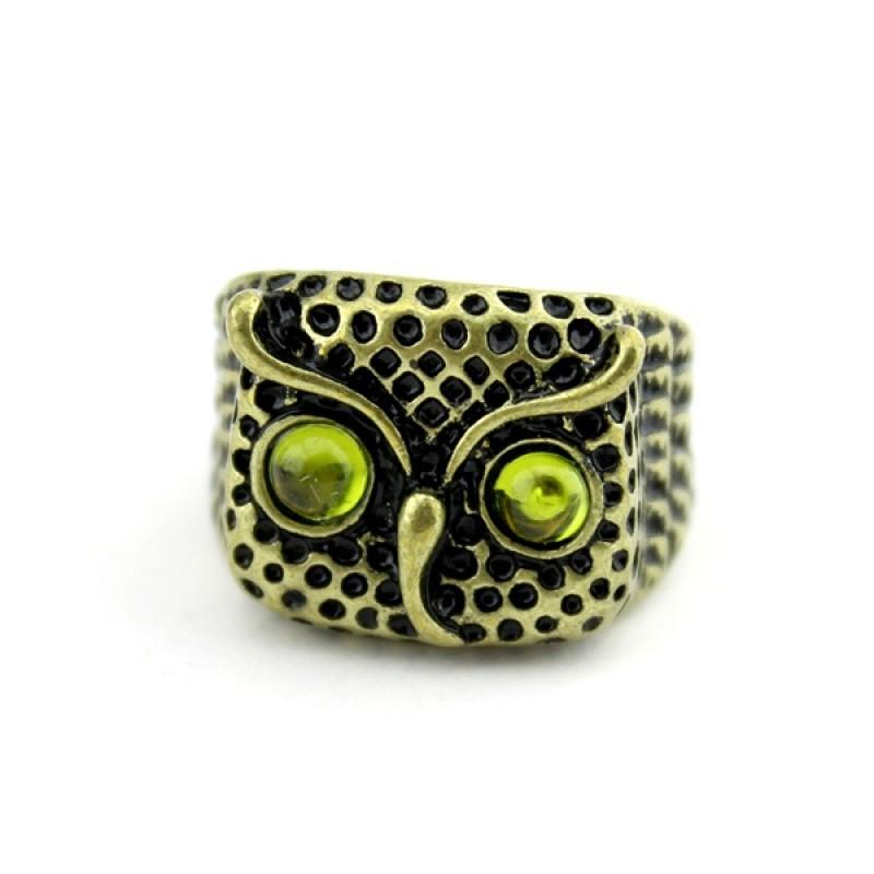 Кольцо Сова с жёлтыми глазами #2275