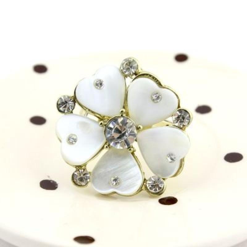 Кольцо Белый Цветок #7278
