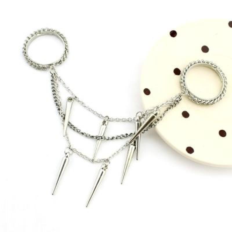 Кольцо с цепочками и шипами #2476