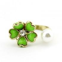 Кольцо Цветок и жемчуг #4183