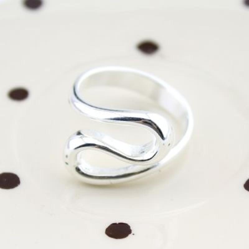 Посребренное кольцо Изгибы 18 р-р #4513