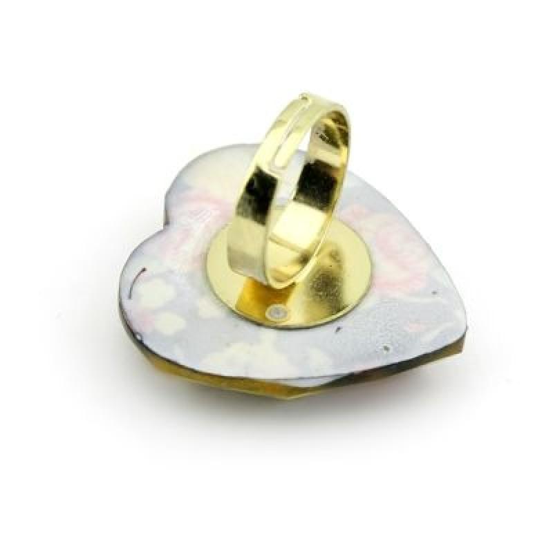 Кольцо Сердечко с принтом #4359