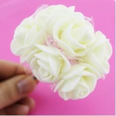 Связка из цветов 6шт Кремовые с блестками #4713